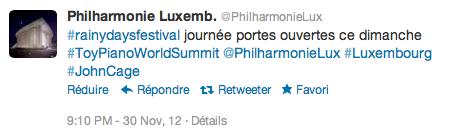 Tweet @PhilharmonieLux 30.11.12
