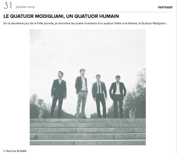 Folle Journée 2013 / Petite Classique - Quatuor Modigliani